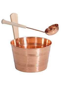 Copper Bucket with Copper ladle Package